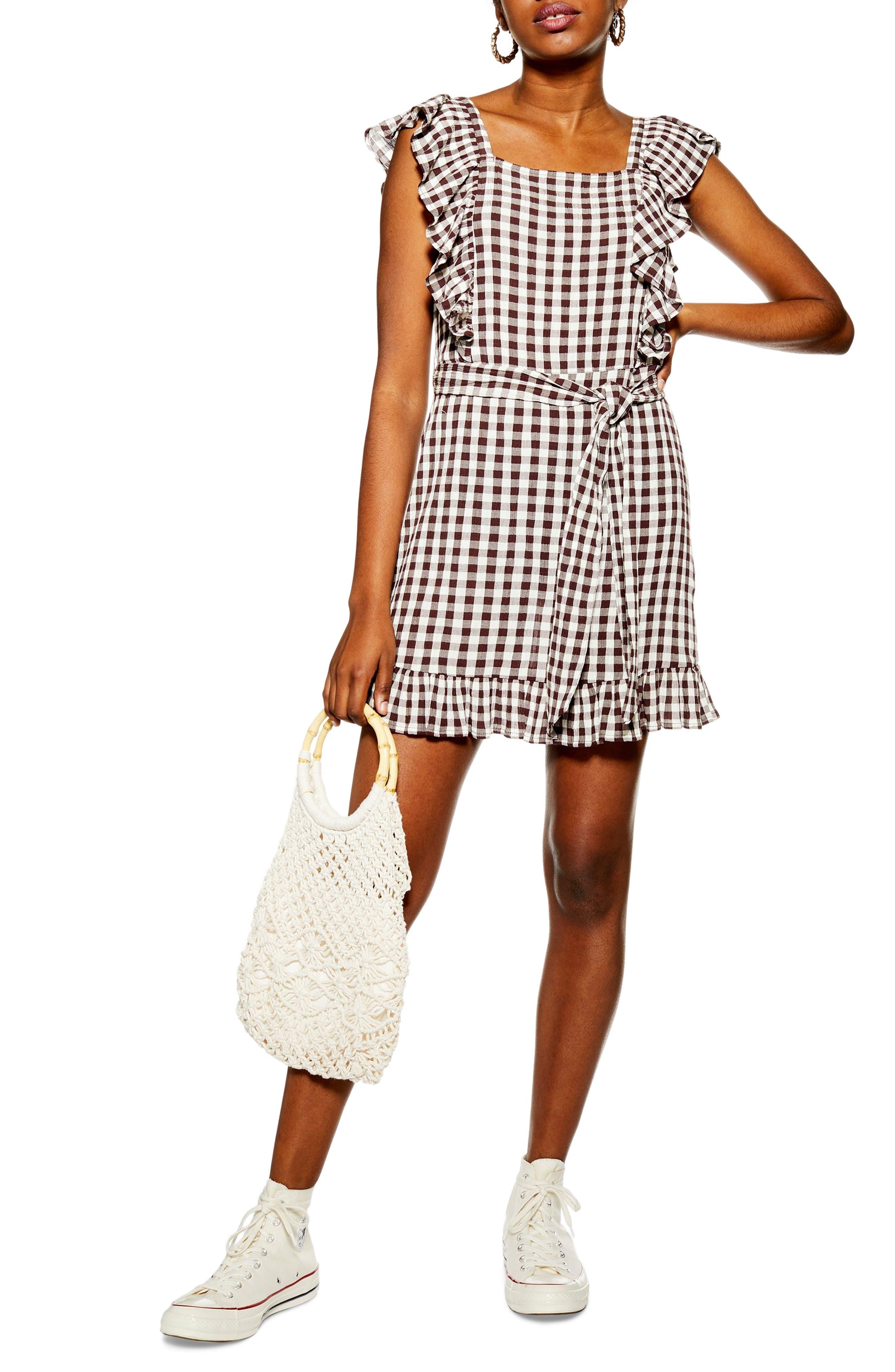 Topshop Gingham Ruffle Minidress, US (fits like 0) - Brown