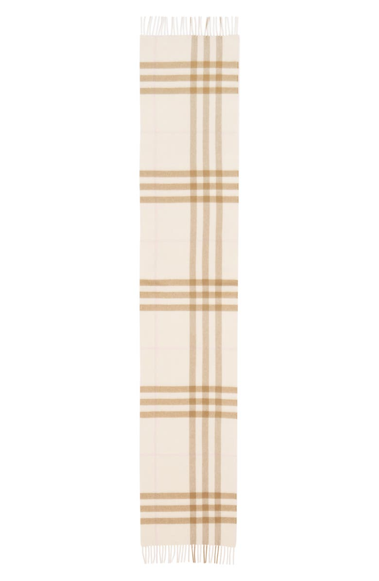 BURBERRY Giant Icon Check Cashmere Scarf, Main, color, WHITE/ ALABASTER
