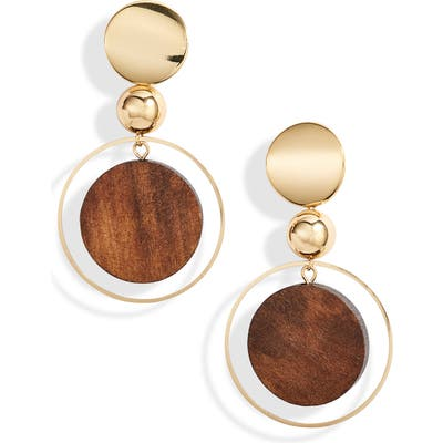 Ettika Wood Disc Earrings