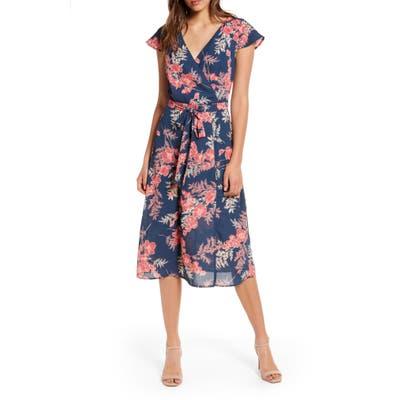 Row A Floral Surplice Midi Dress, Blue