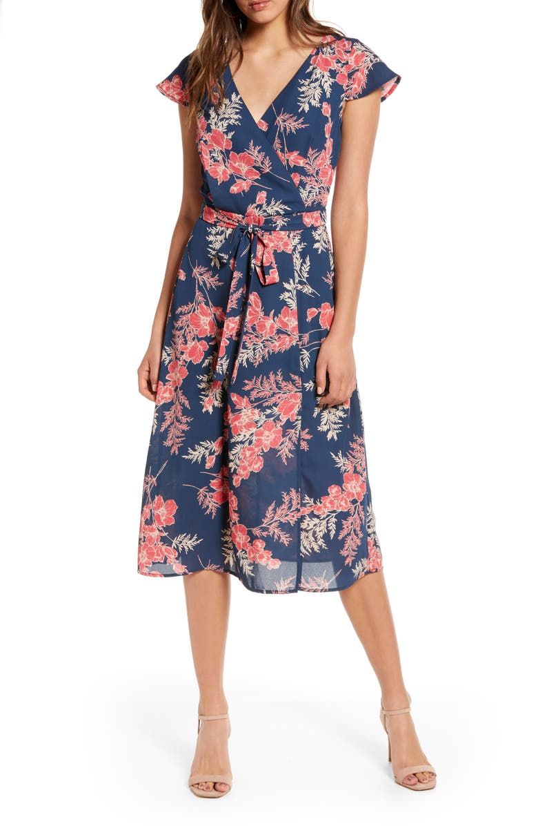 ROW A Floral Surplice Midi Dress, Main, color, NAVYRED