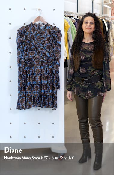 Siya Metallic Long Puff Sleeve Silk Dress, sales video thumbnail