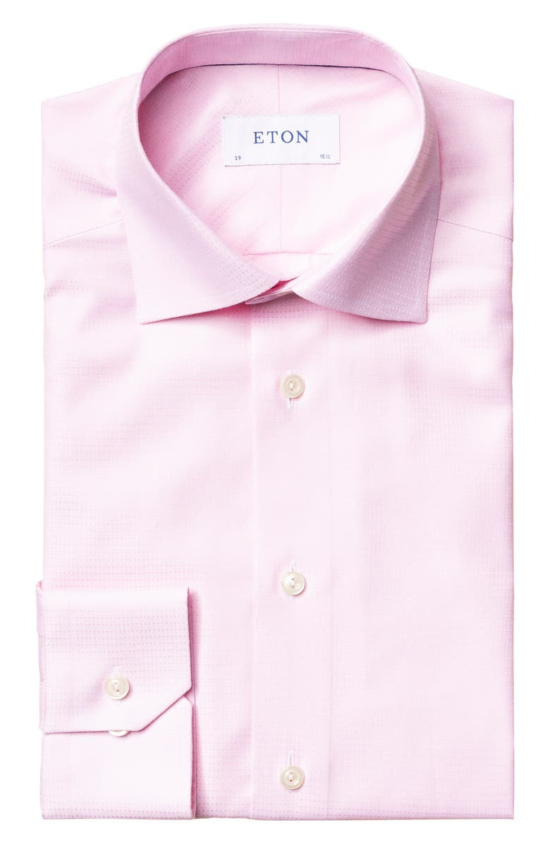 ETON Contemporary Fit Solid Dress Shirt, Main, color, PINK/ RED