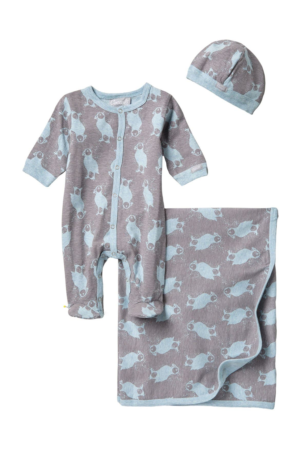 Image of Coccoli Puffin Island Coverall & Blanket Layette Set