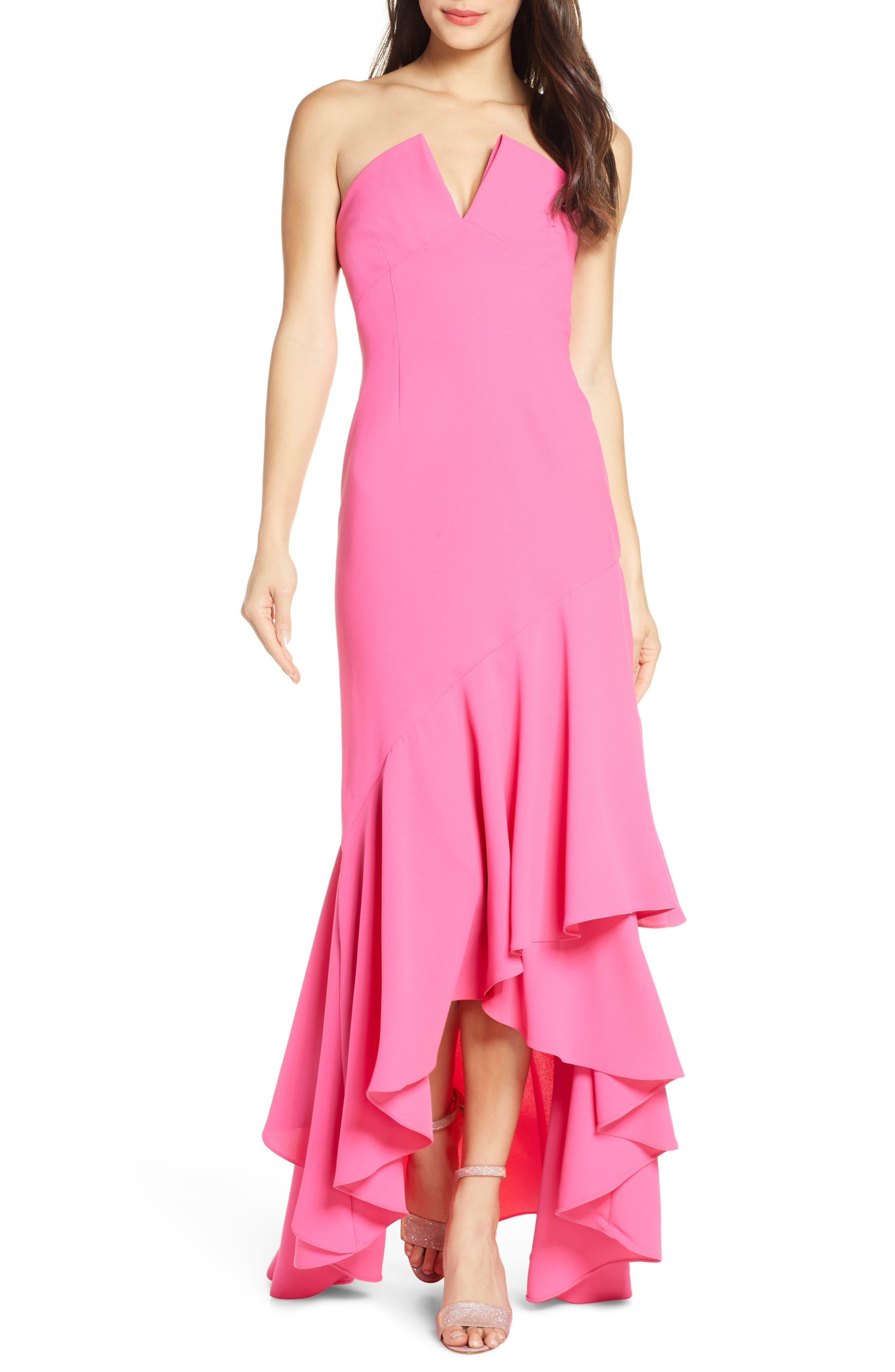 Jill Jill Stuart Notch Detail Strapless Gown, Pink