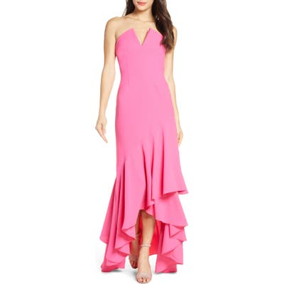 Jill Jill Stuart Notch Detail Strapless Gown, Pink