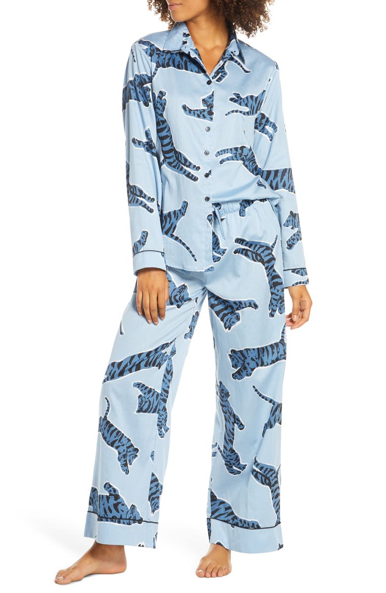CHALMERS Suzie Pajamas, Main, color, TIGER DUSTY BLUE