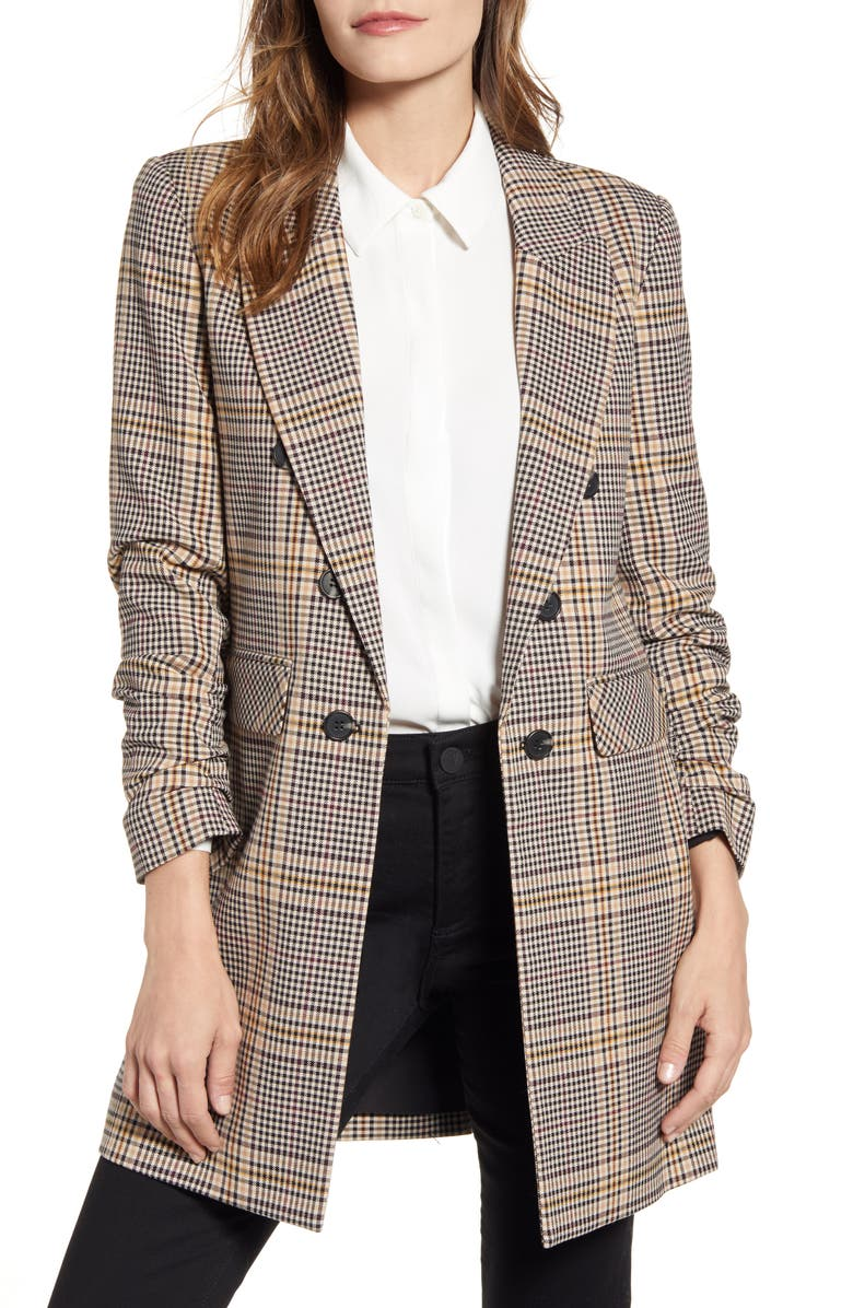 1.STATE Ruched Sleeve Plaid Blazer, Main, color, HONEY POT