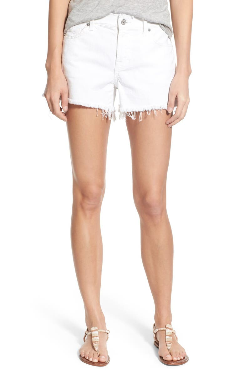7 FOR ALL MANKIND<SUP>®</SUP> Raw Edge Cutoff Shorts, Main, color, 100