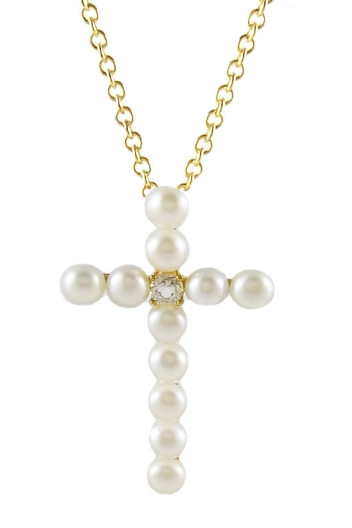 Image of Savvy Cie 18K Yellow Gold Vermeil 5.5mm Freshwater Pearl Cross Pendant Necklace