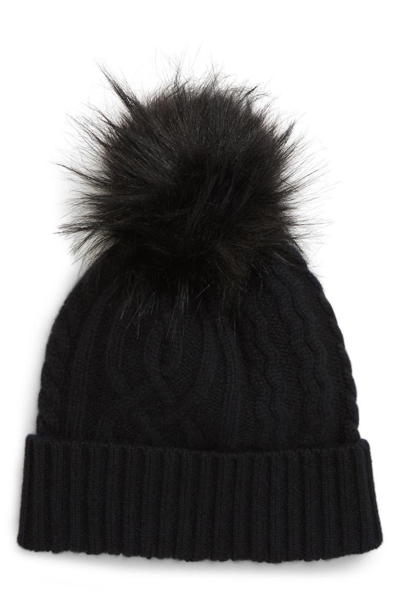 HALOGEN<SUP>®</SUP> Cable Cashmere Pom Beanie, Main, color, BLACK