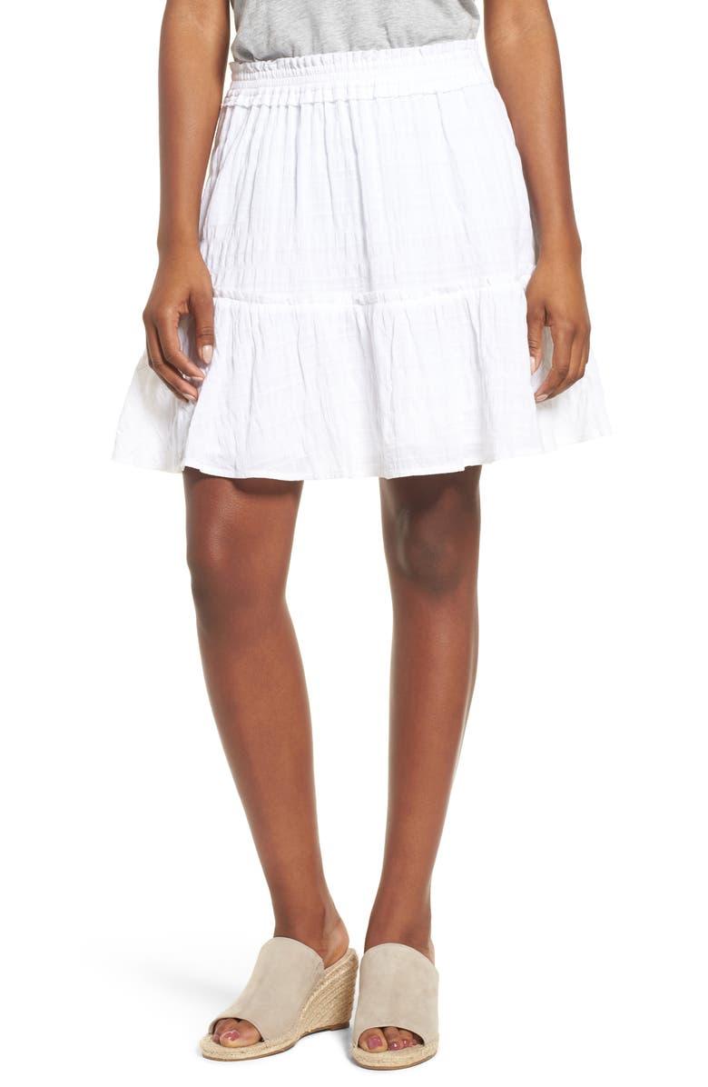 CASLON<SUP>®</SUP> Smocked Stretch Cotton Mini Skirt, Main, color, WHITE