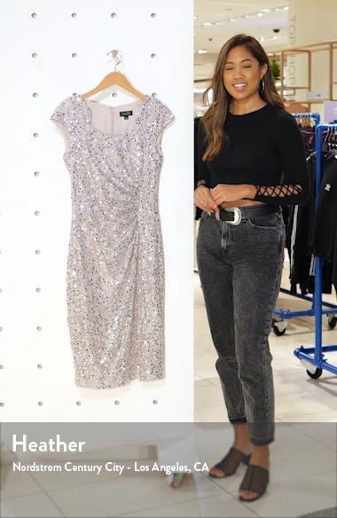 Sequin & Beaded Sheath Dress, sales video thumbnail
