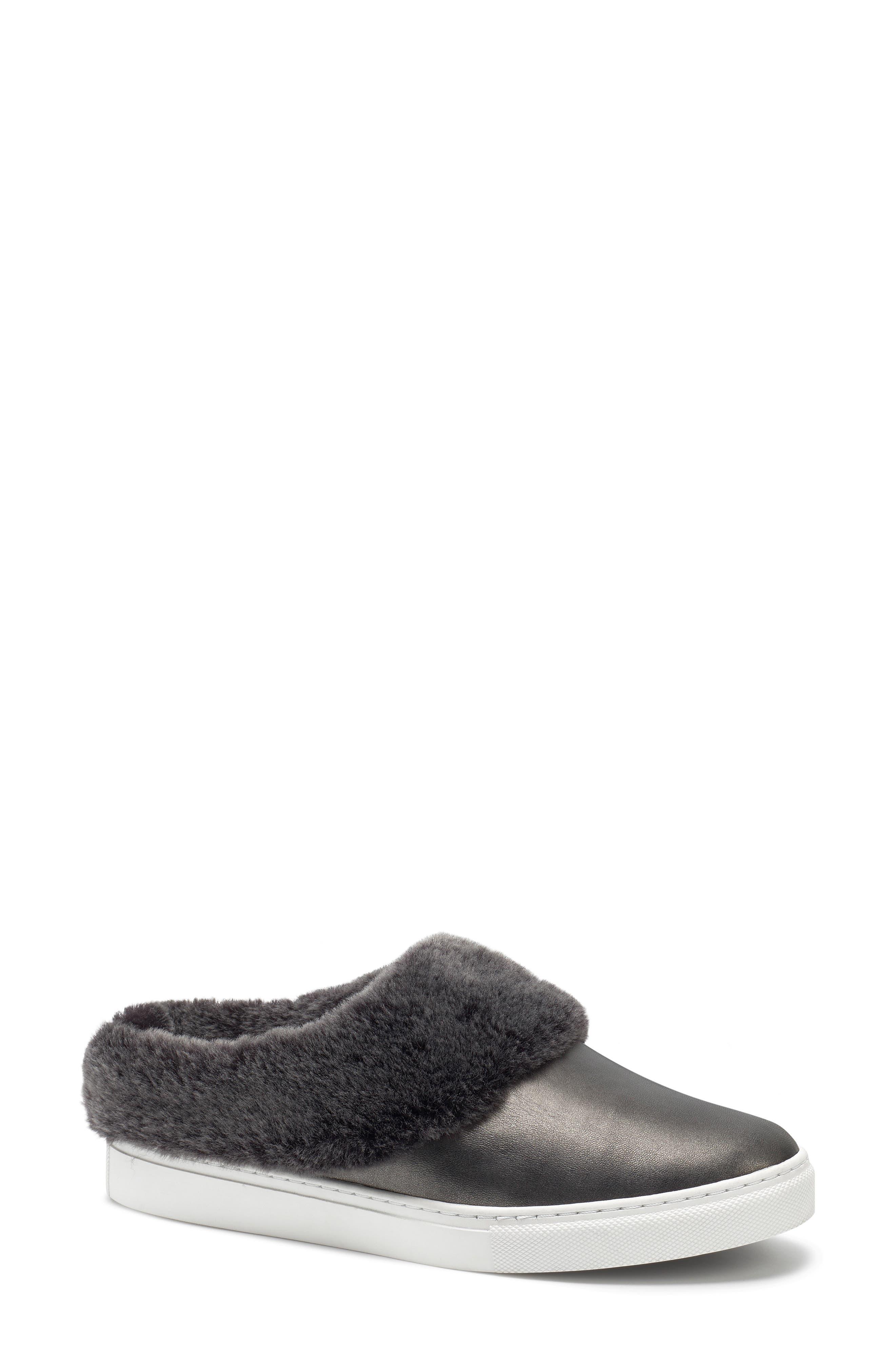 Trask Lisa Genuine Shearling Trim Slip-On Sneaker, Metallic