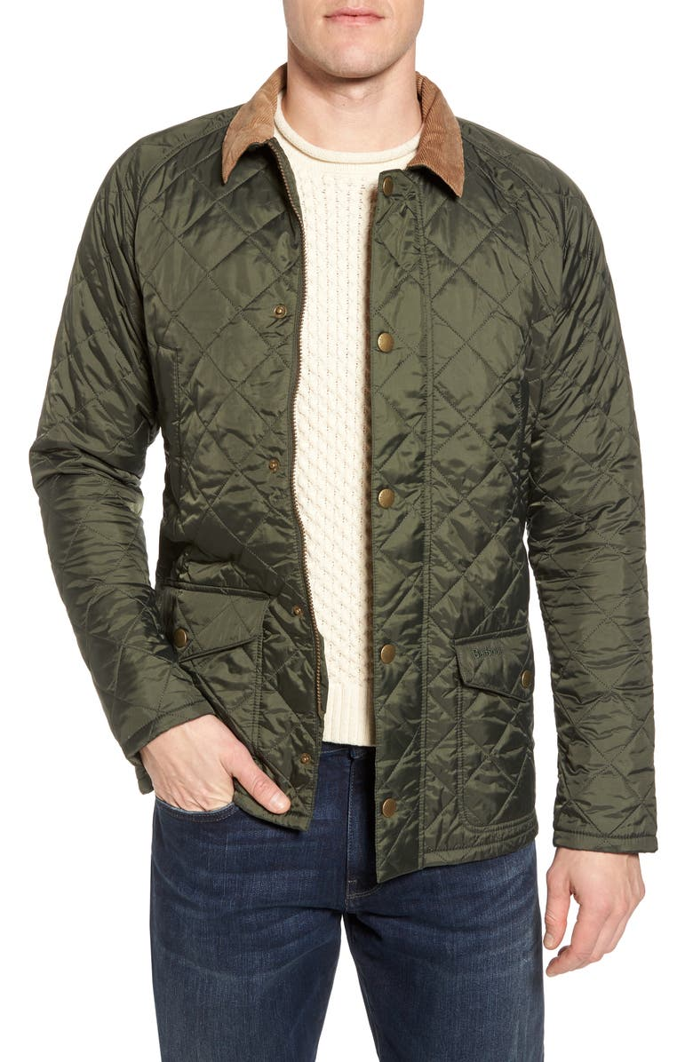 BARBOUR 'Canterdale' Slim Fit Water-Resistant Diamond Quilted Jacket, Main, color, FOREST