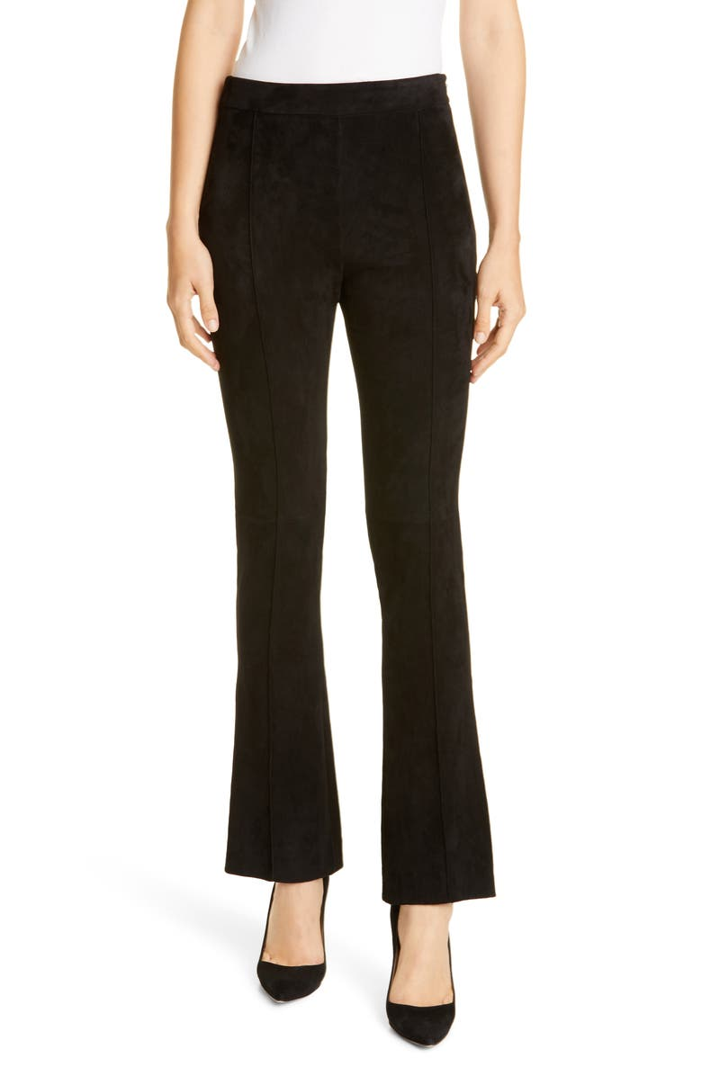ADAM LIPPES Stretch Suede Kick Pants, Main, color, 001