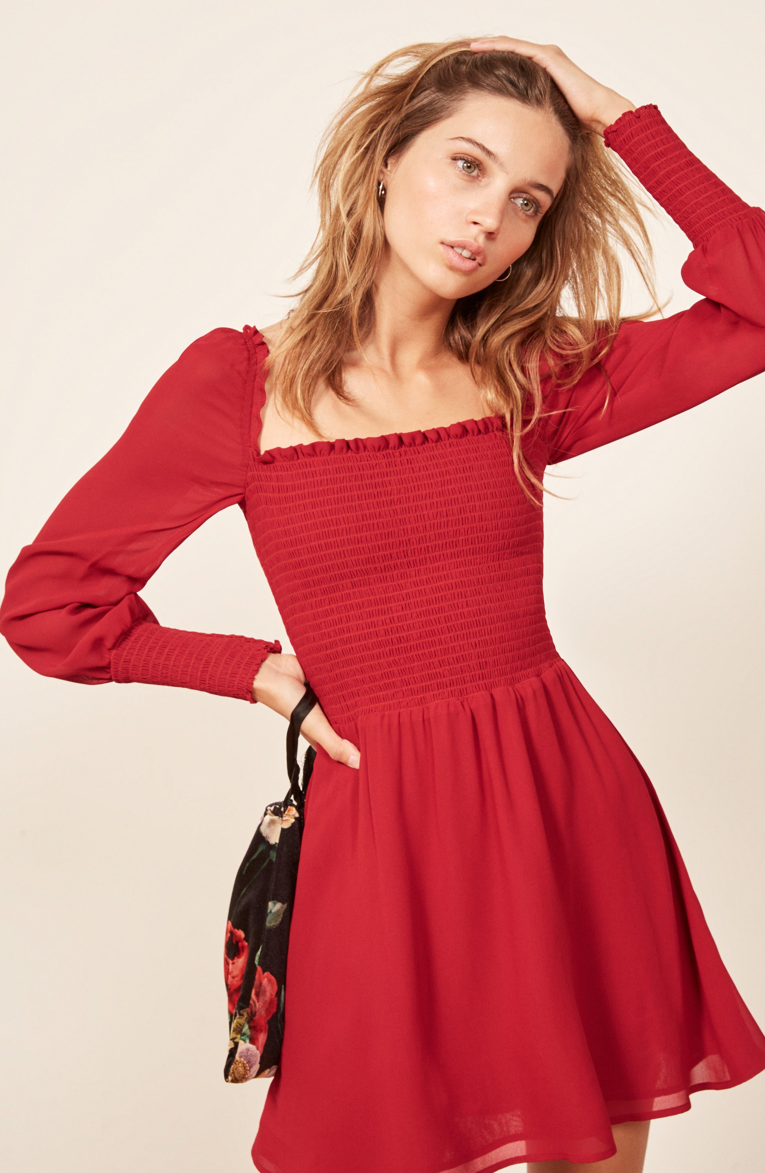 ,                             Kelli Smocked Bodice Fit & Flare Minidress,                             Alternate thumbnail 12, color,                             600