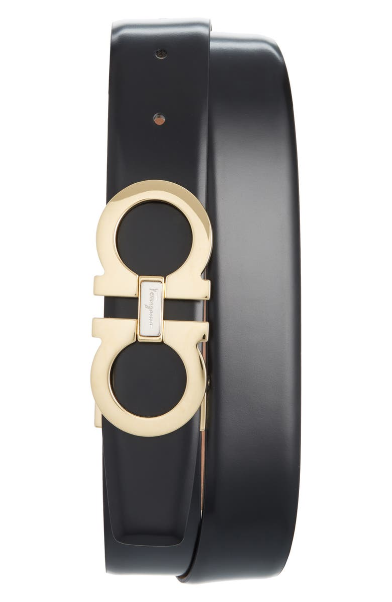 SALVATORE FERRAGAMO Leather Belt, Main, color, BLACK