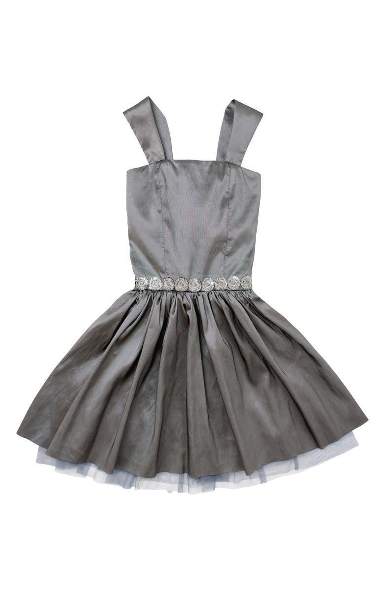 STELLA M'LIA Taffeta Fit & Flare Dress, Main, color, GREY