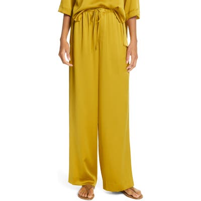 Vince Silk Pajama Pants, Yellow