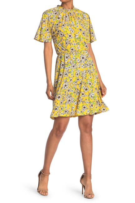 Image of Maggy London Floral Print Belted A-Line Dress