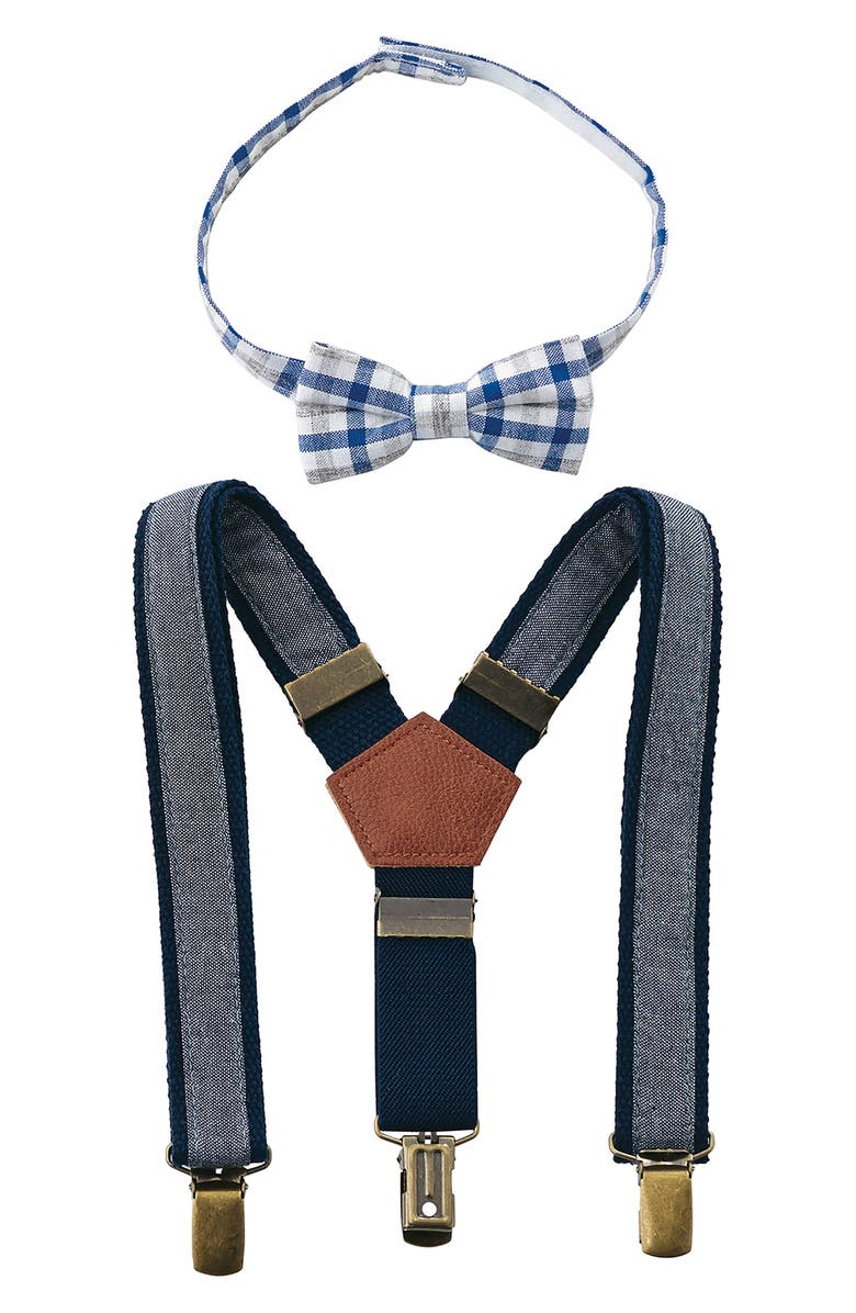 MUD PIE Bow Tie & Suspender Set, Main, color, BLUE
