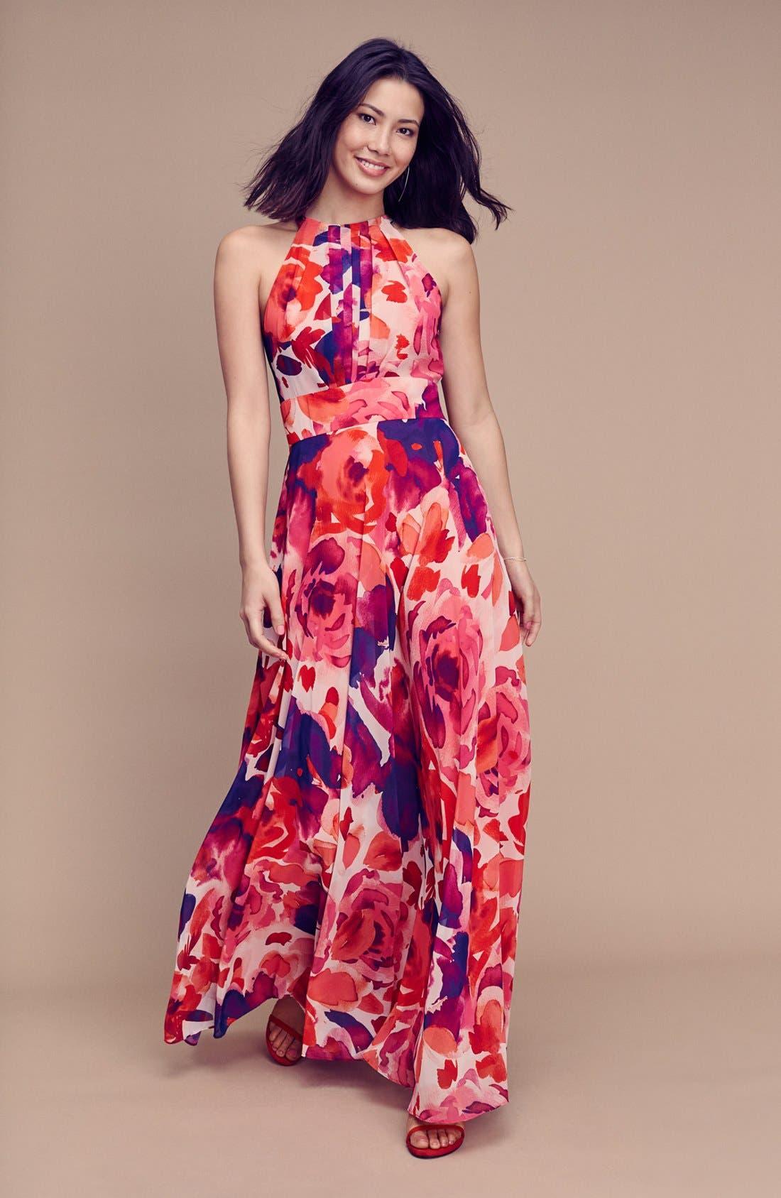 ,                             Floral Print Halter Maxi Dress,                             Alternate thumbnail 7, color,                             PINK/ CORAL/ PURPLE