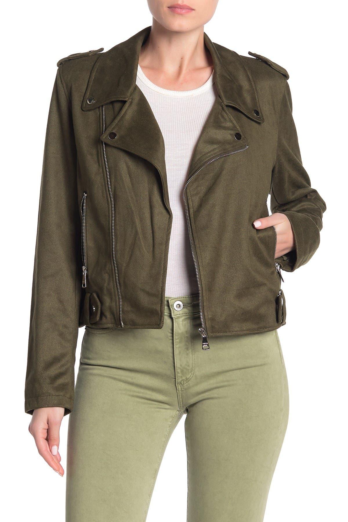 Vigoss Faux Suede Moto Jacket In Olive