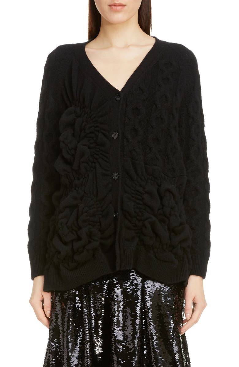 SIMONE ROCHA Oversize Cashmere Blend Cardigan, Main, color, BLACK