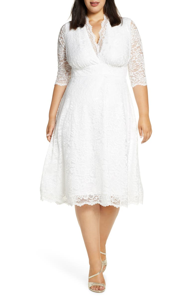 KIYONNA Bella Lace Fit & Flare Dress, Main, color, IVORY