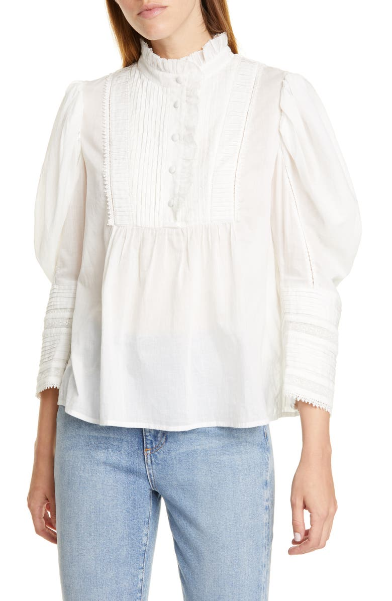 SEA Silva Puff Sleeve Cotton Blouse, Main, color, WHITE