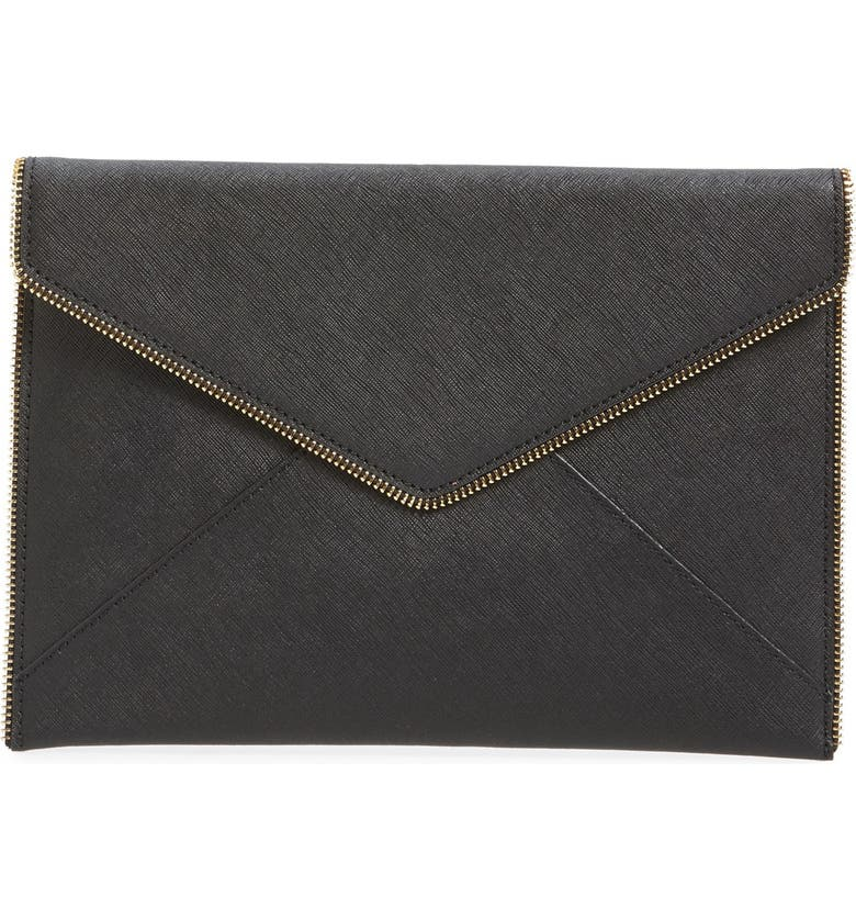REBECCA MINKOFF Leo Envelope Clutch, Main, color, BLACK/ LIGHT GOLD HRDWR