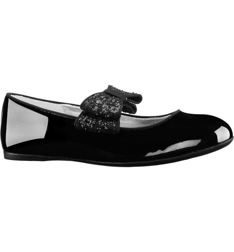 NINA Zondra Glitter Bow Flat, Main, color, BLACK PATENT