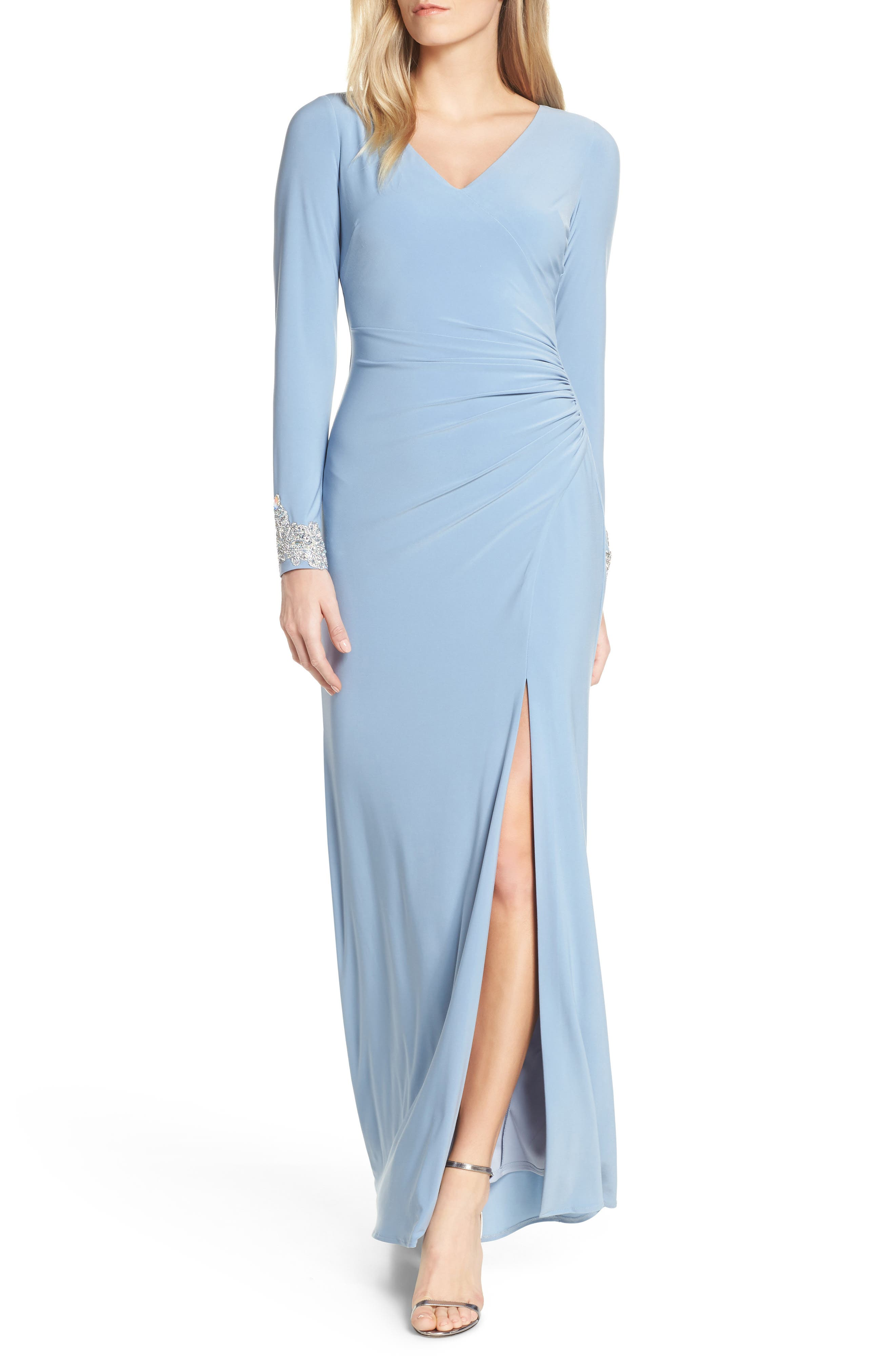 Petite Vince Camuto Long Sleeve Beaded Cuff Ruched Gown, Blue