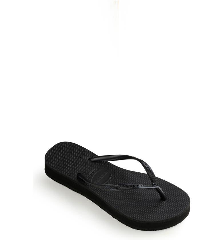 HAVAIANAS Slim Flatform Flip Flop, Main, color, BLACK