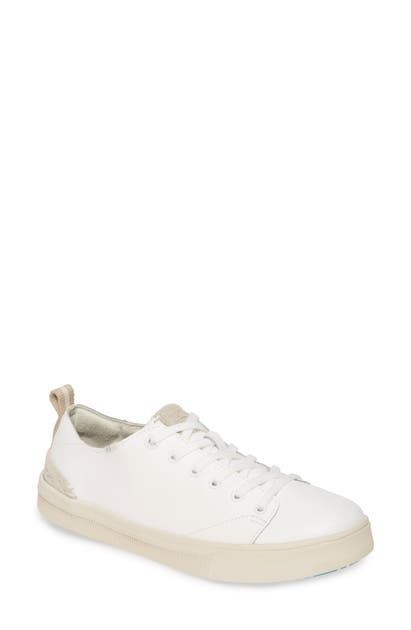 Toms Travel Lite Low Top Sneaker In White Leather