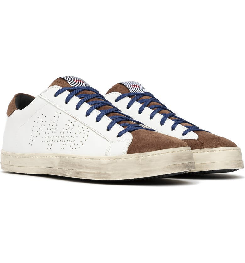 P448 John Sneaker, Main, color, WHITE/ BROWN LEATHER