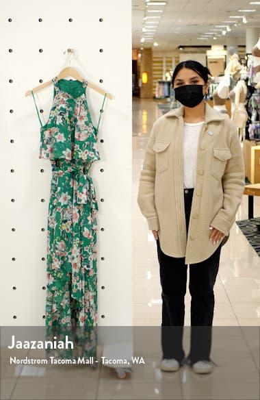 Floral Halter Neck Popover Chiffon Dress, sales video thumbnail