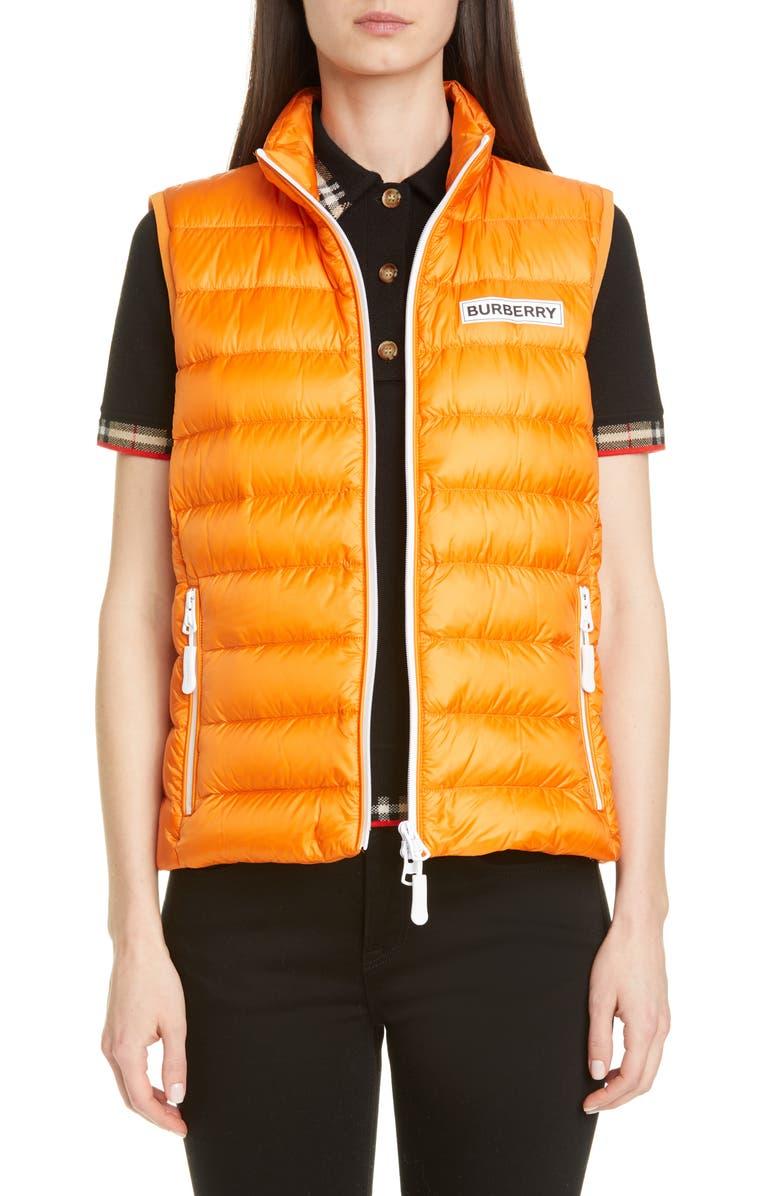 BURBERRY Darlington Logo Print Down Puffer Vest, Main, color, BRIGHT ORANGE