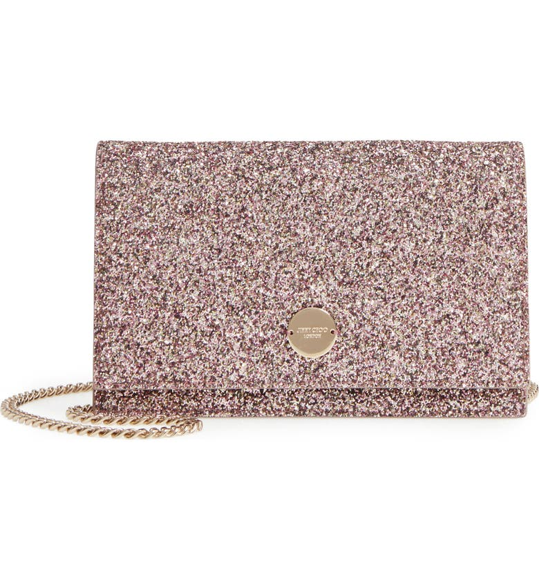 JIMMY CHOO Florence Glitter Crossbody Bag, Main, color, VIOLA MIX
