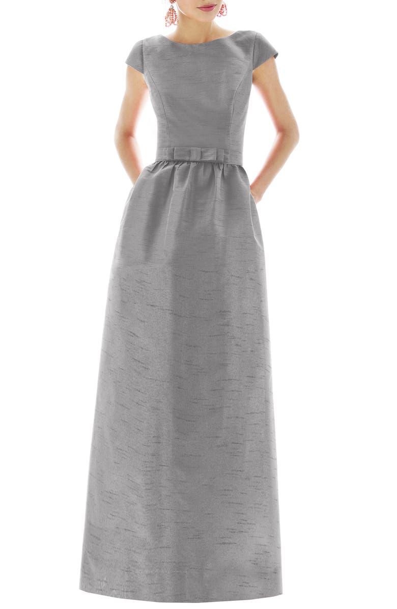 ALFRED SUNG Cap Sleeve Dupioni Full Length Dress, Main, color, QUARRY