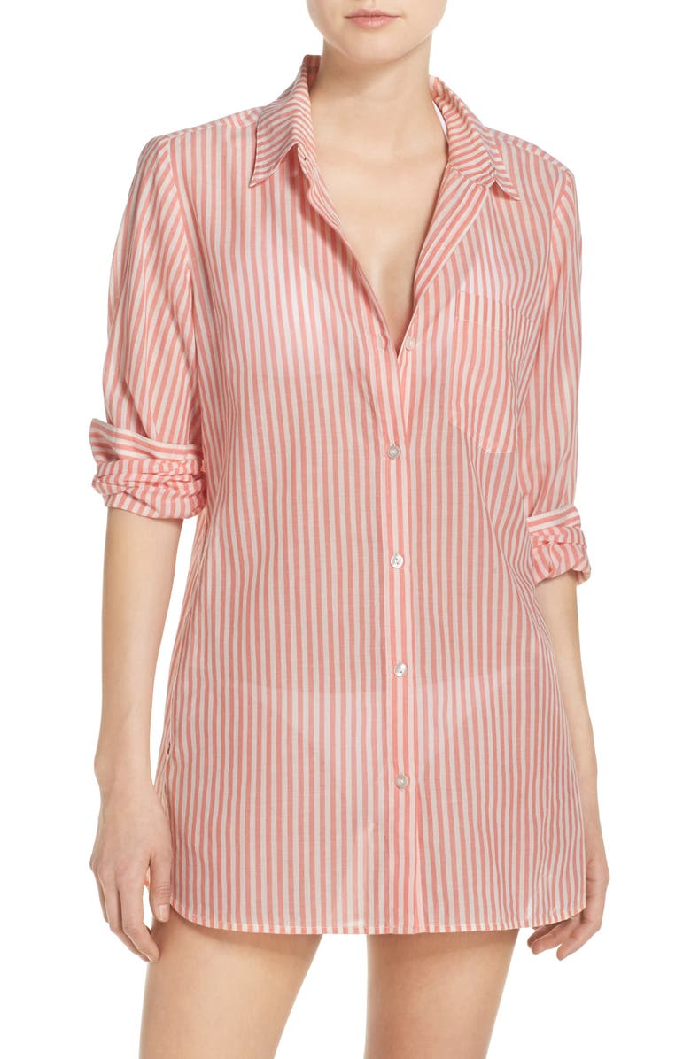 CASLON<SUP>®</SUP> Stripe Boyfriend Shirt Cover-Up, Main, color, 958