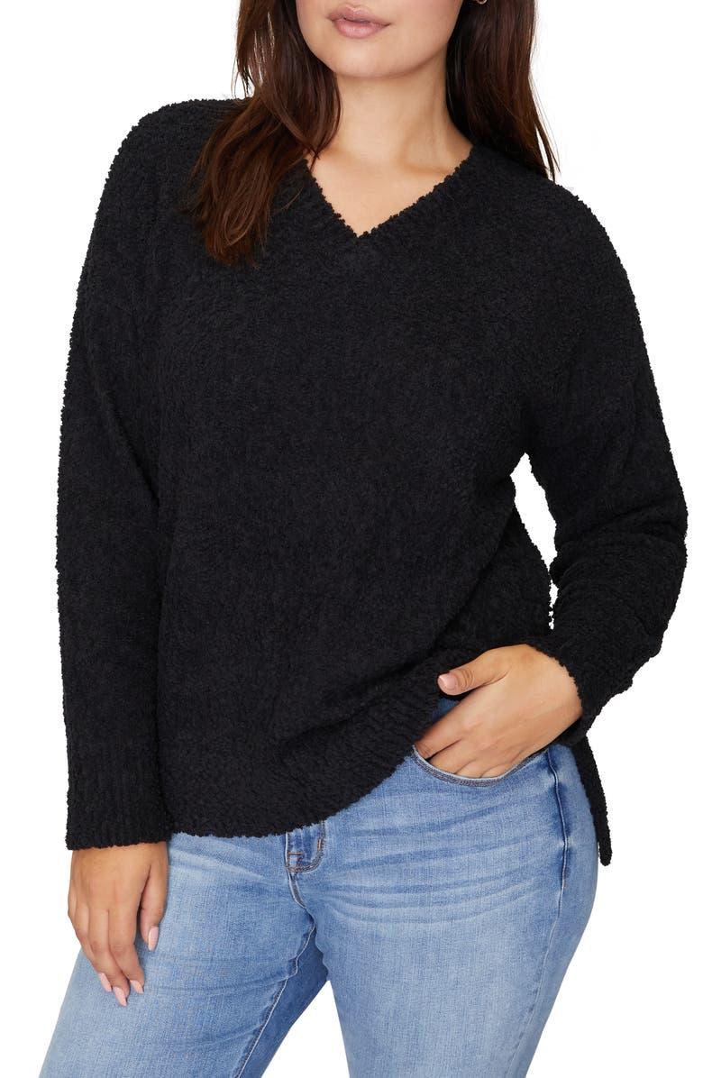 SANCTUARY V-Neck Teddy Sweater, Main, color, 001