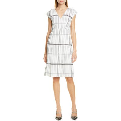 Lewit Grid Check Cap Sleeve Dress, Ivory