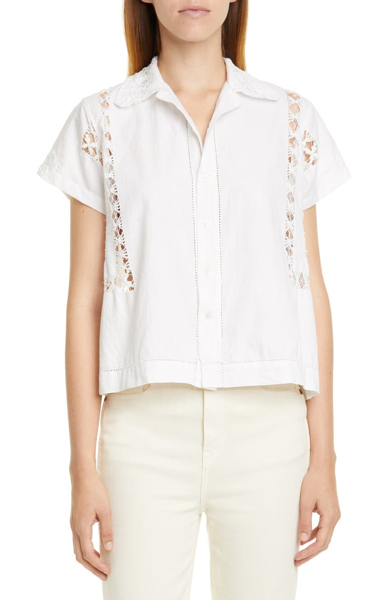 BODE Lace Drawnwork Shirt, Main, color, WHITE