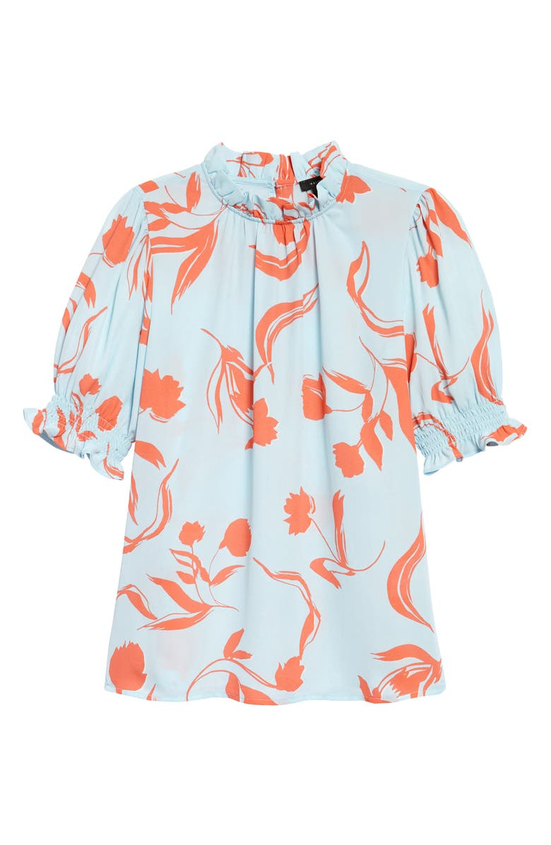 HALOGEN<SUP>®</SUP> Smocked Sleeve Top, Main, color, BLUE- CORAL FLORAL