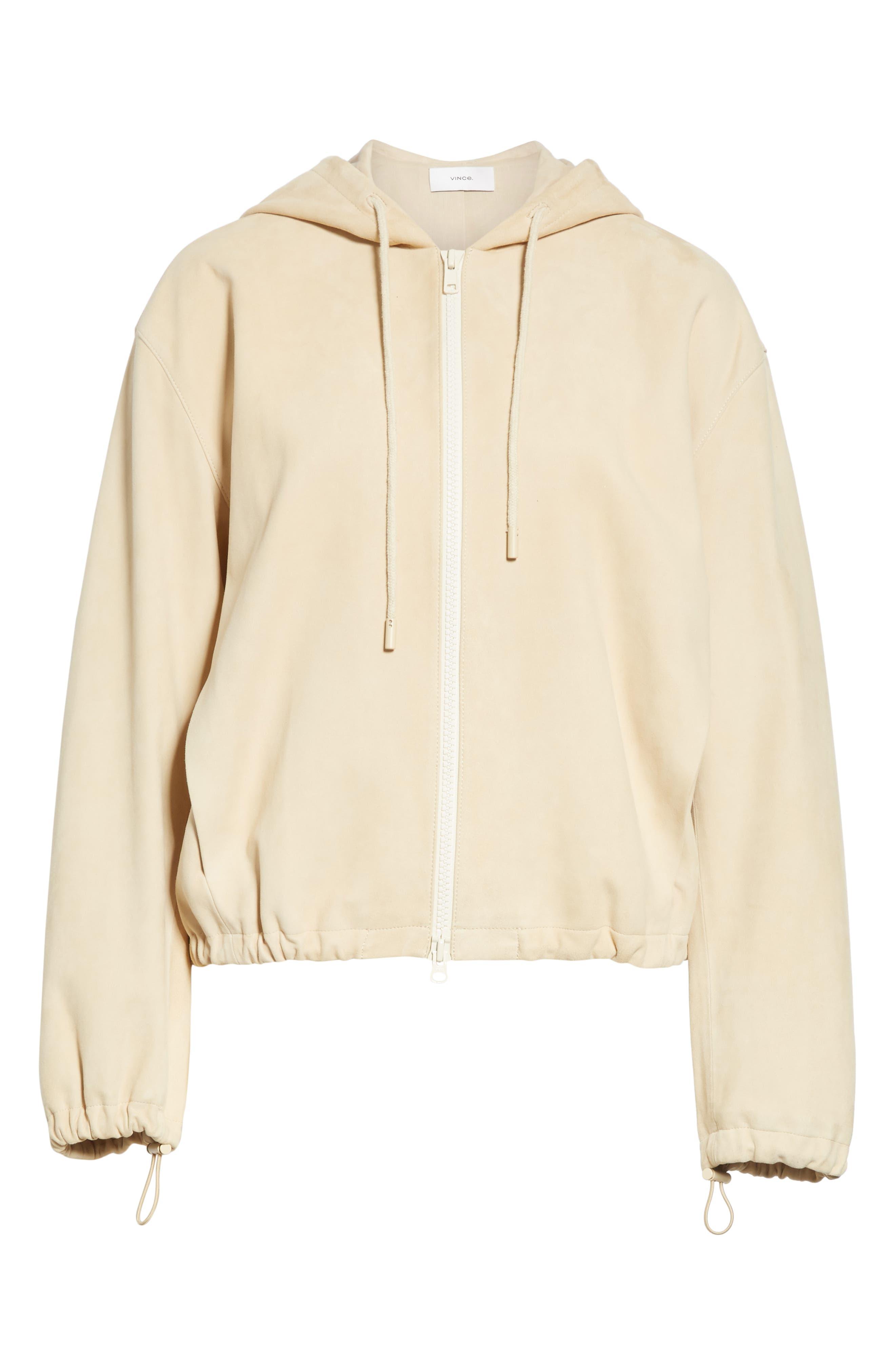 ,                             Suede Zip Hooded Jacket,                             Alternate thumbnail 6, color,                             FENNEL