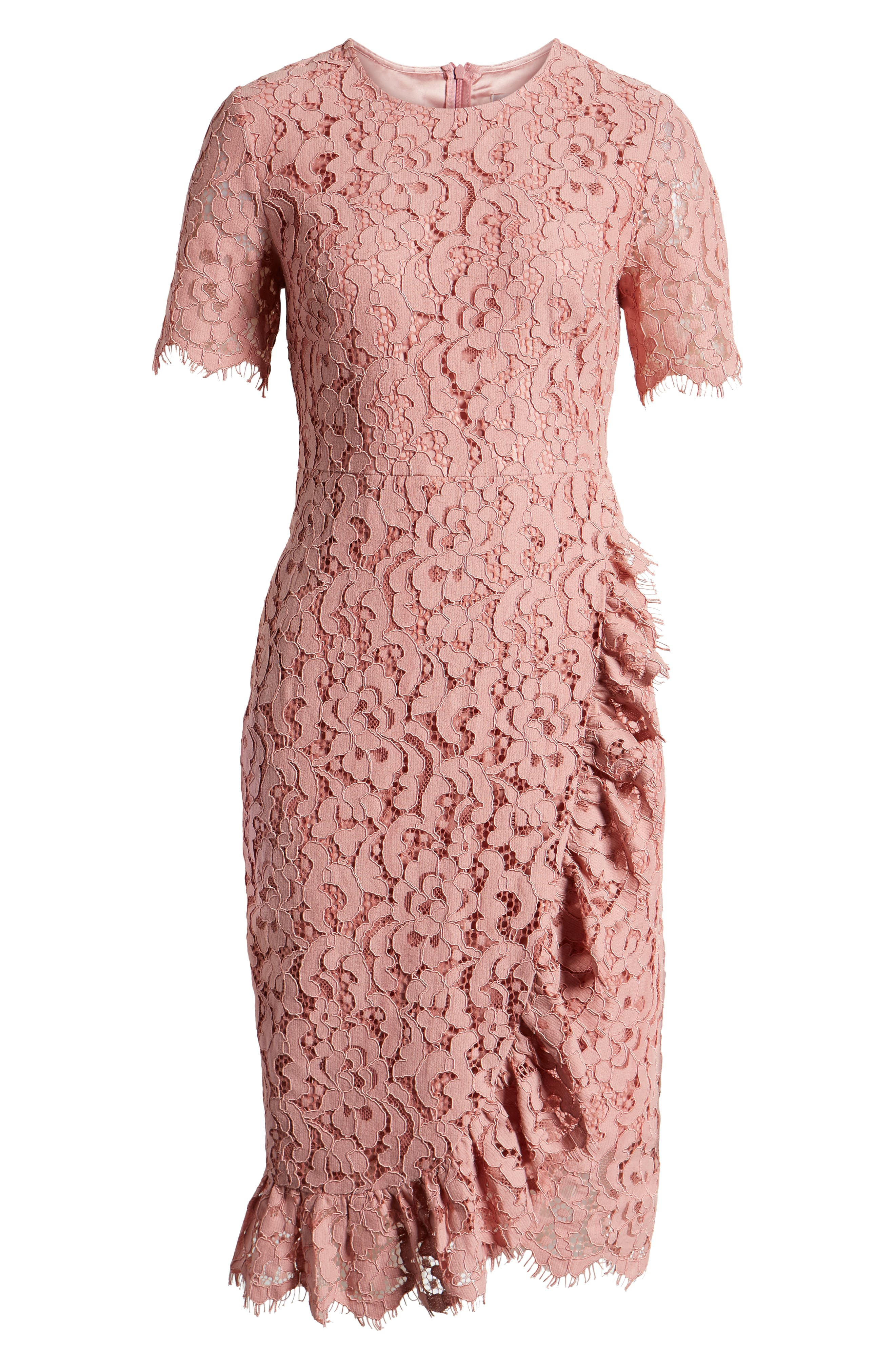 ,                             Ruffle Front Lace Sheath Dress,                             Alternate thumbnail 7, color,                             PINK BEAUTY