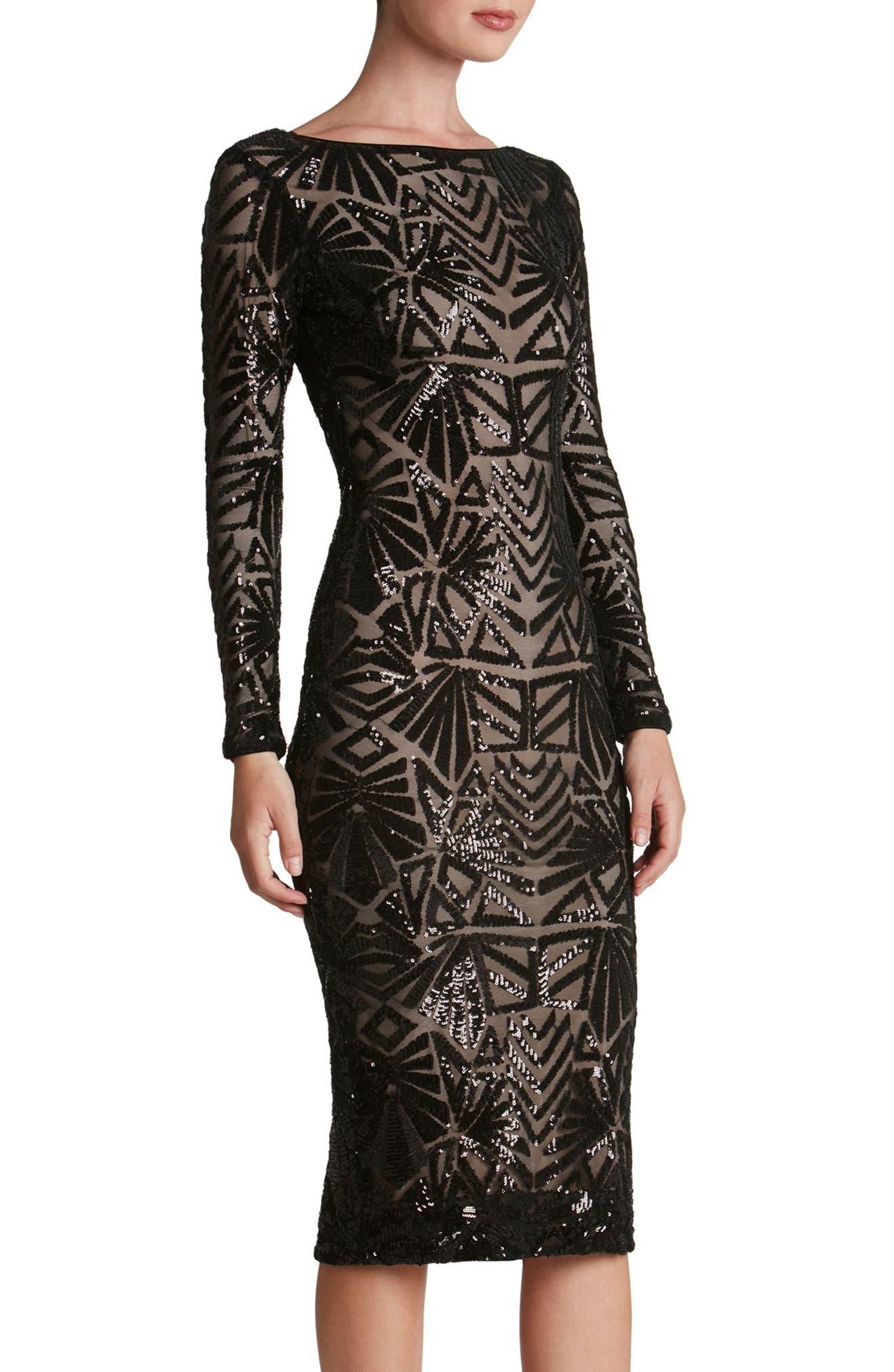2281b986678058 Dress the Population Emery Midi Dress | Nordstrom