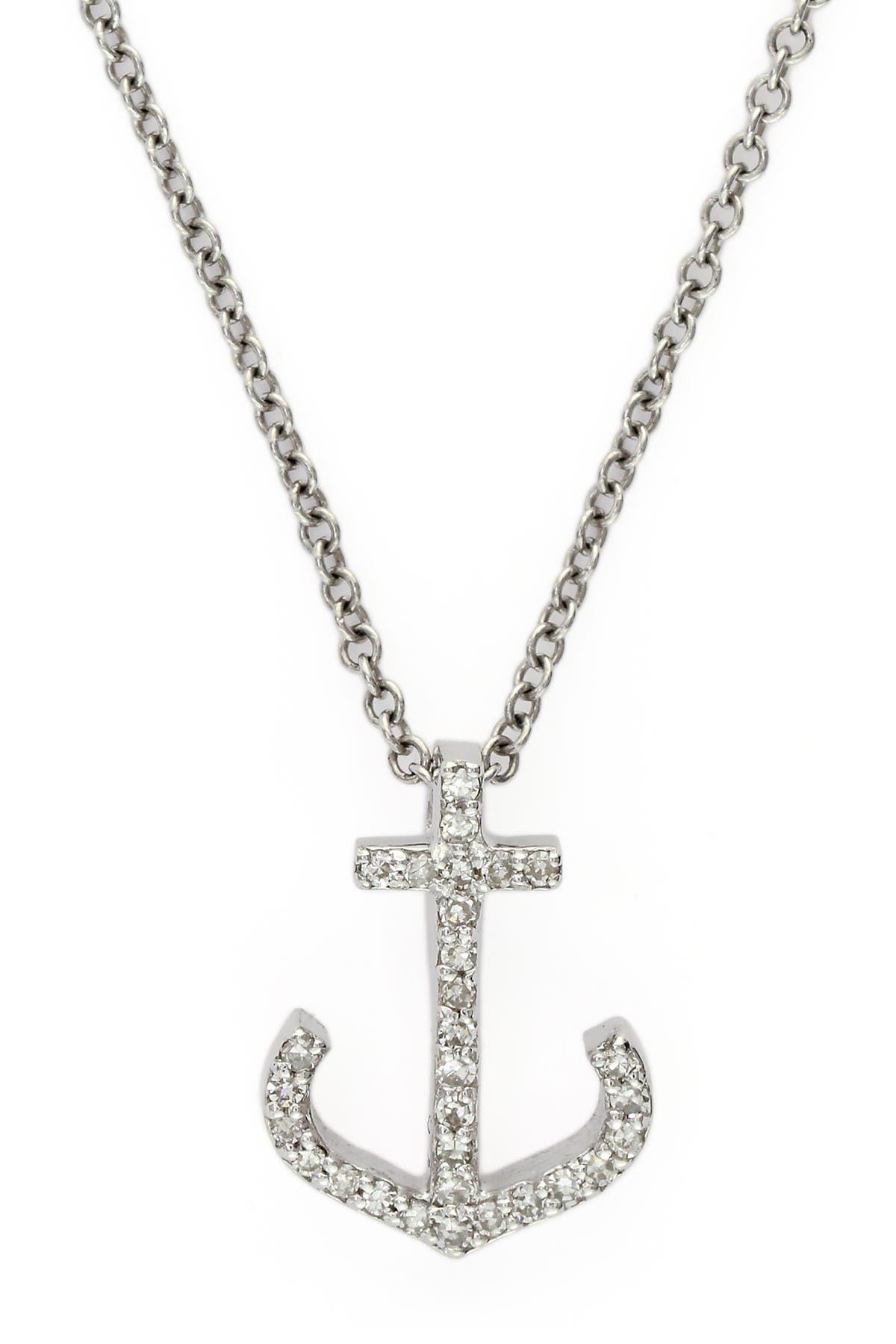 Image of Effy 14K White Gold Pave Diamond Anchor Pendant Necklace - 0.09 ctw